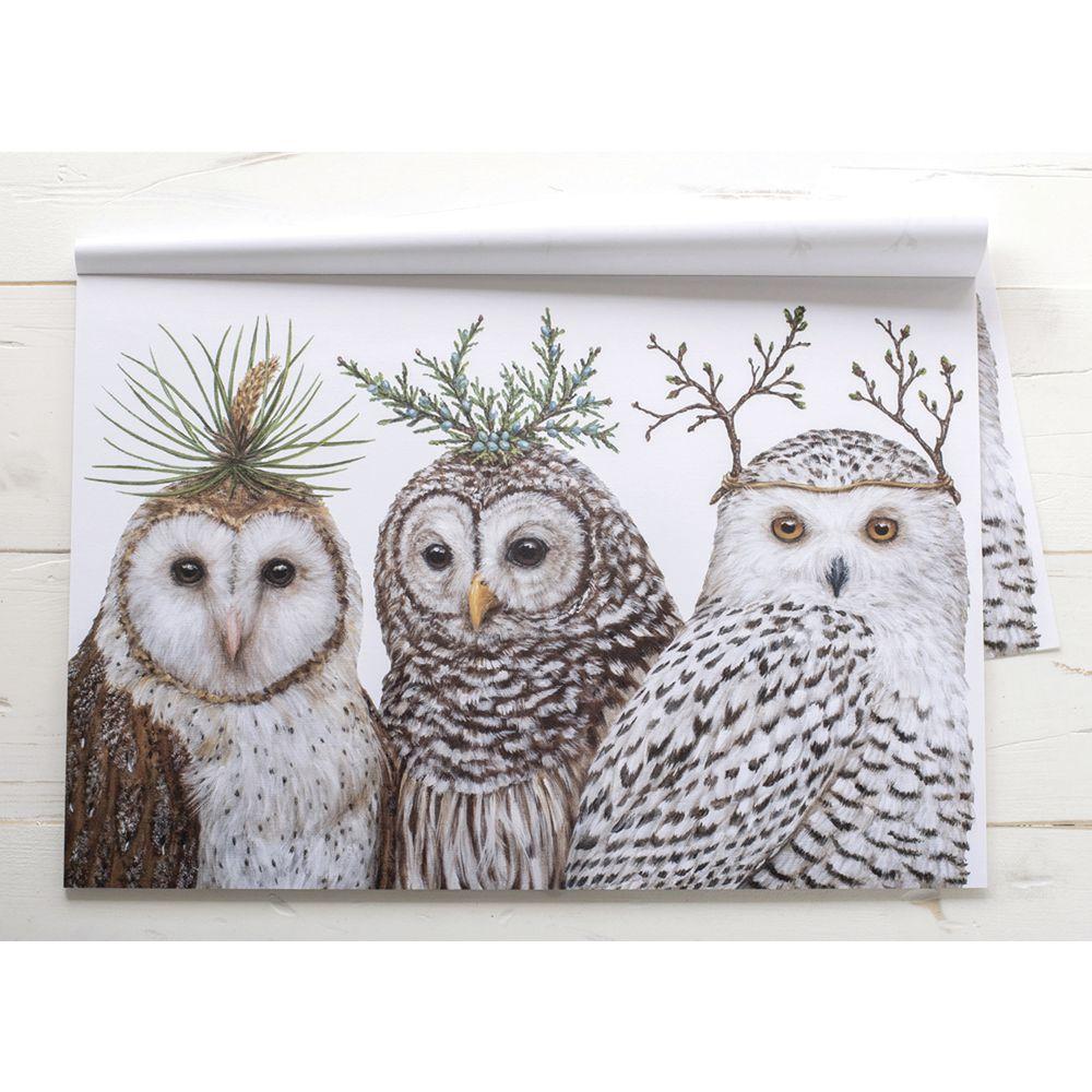 PLACEMAT, PAPER, WINTER OWLS, 30/PK