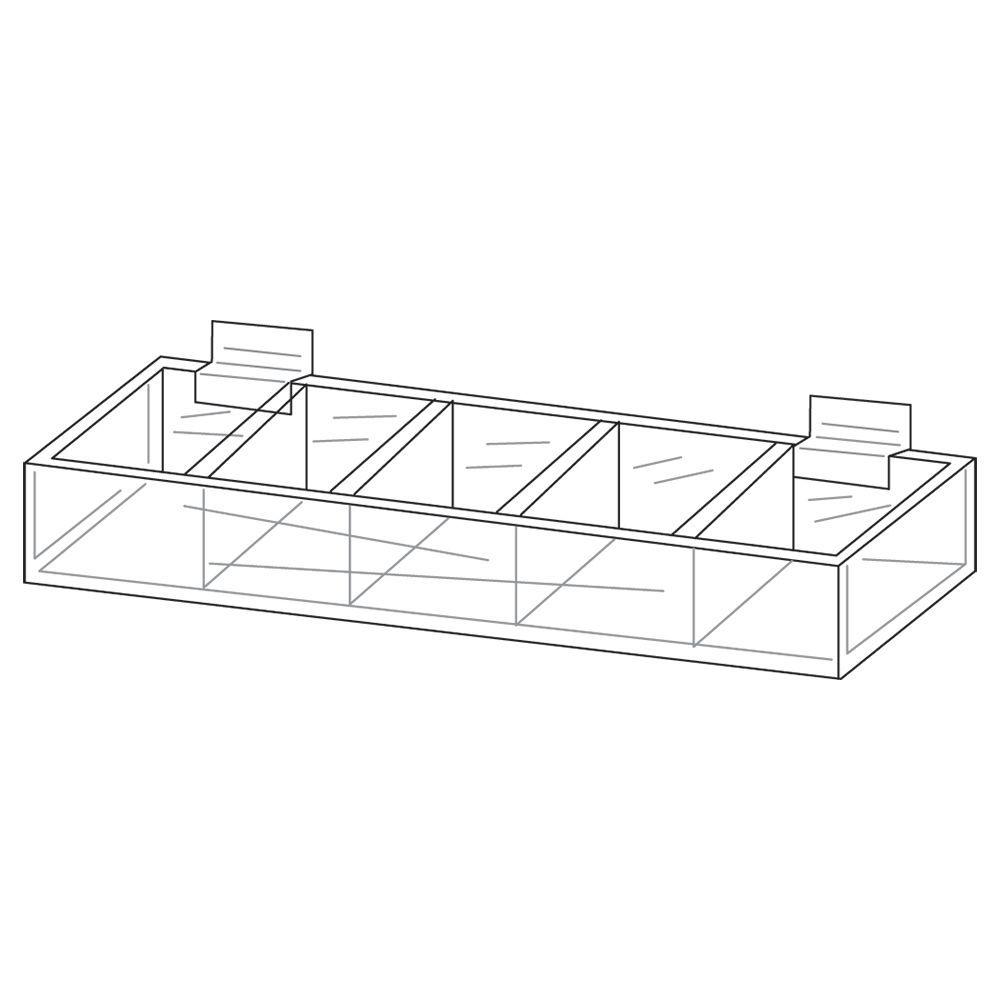 Five Pocket Acrylic Display Trays for Slatwall