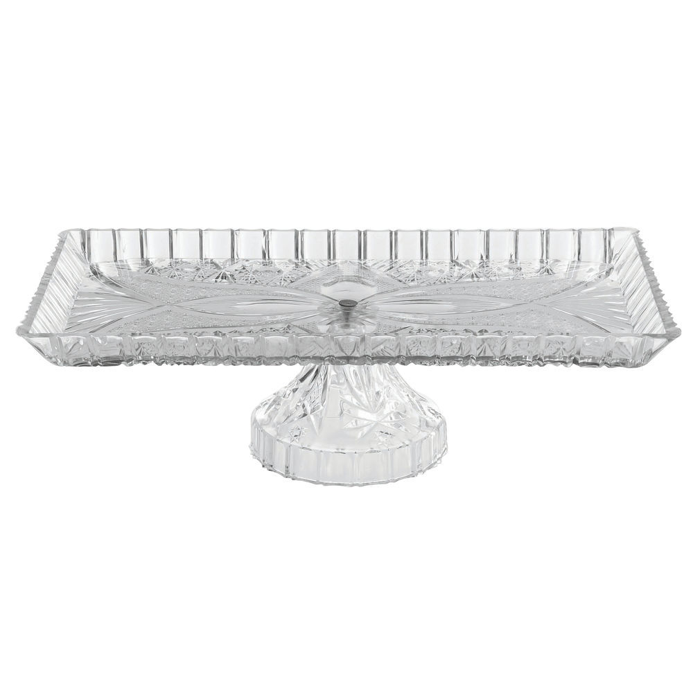 "|Heavyweight Cut Glass-Like Serving Tray with Pedestal Clear Plastic 13 1/2""L x 7""W x 3 3/4""H"