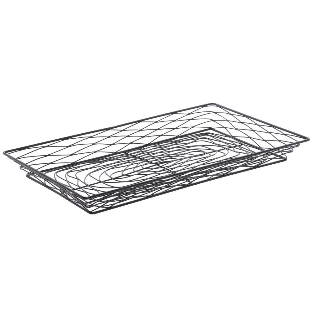 black wire mesh trays