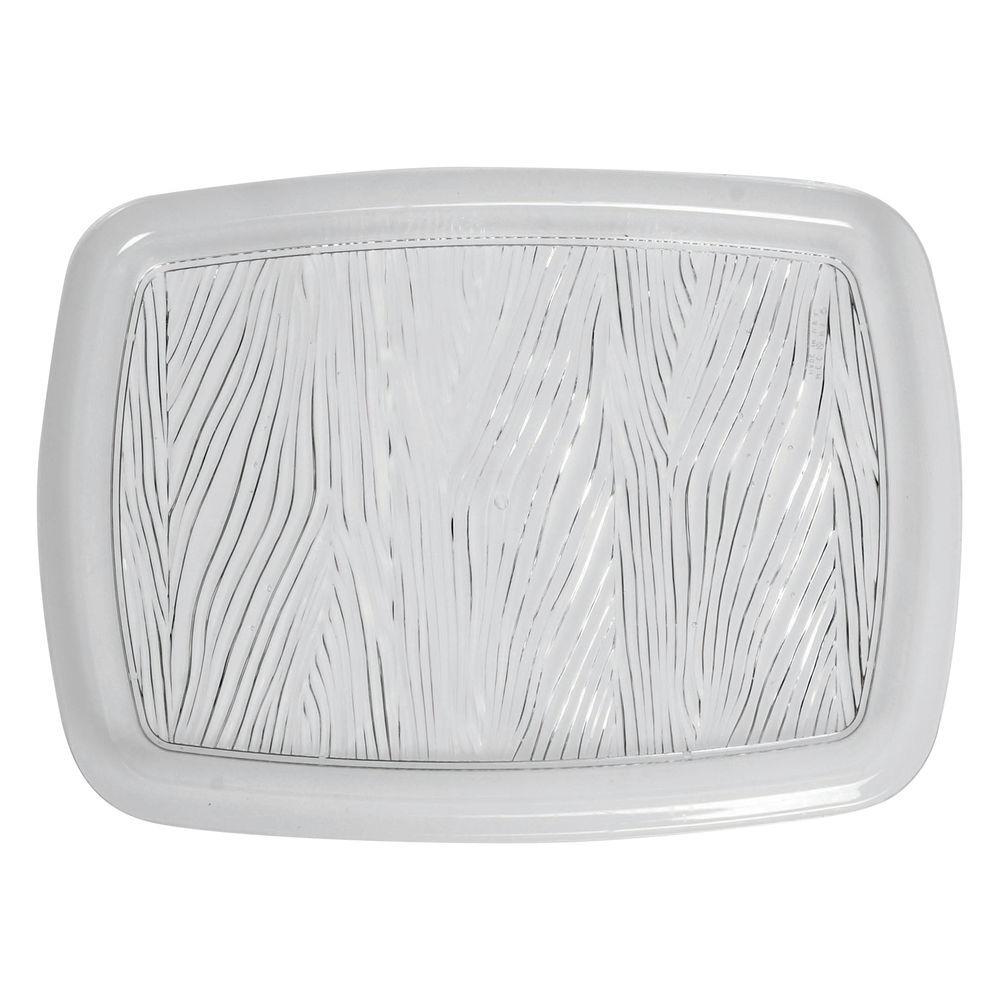 "|Cut Crystal-Look Wheat Design Serving Platter in Clear Plastic 15""L x 11""W"