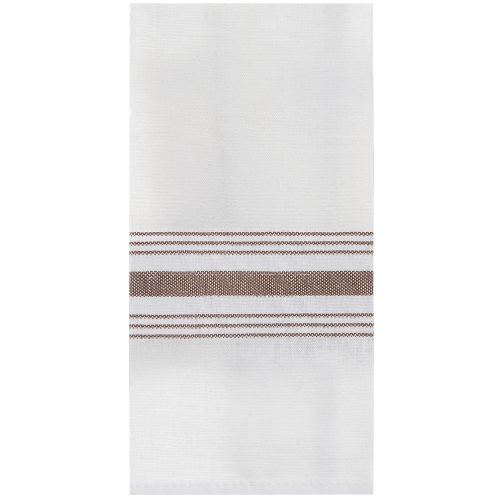 Marko Striped Bistro Napkins 18 x 22 White with Chocolate Stripe 12/PK
