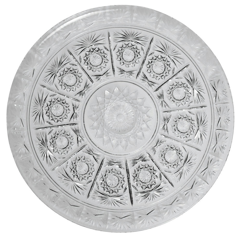 "|Round Heavyweight Crystalon Serving Tray Clear Plastic 16""D"