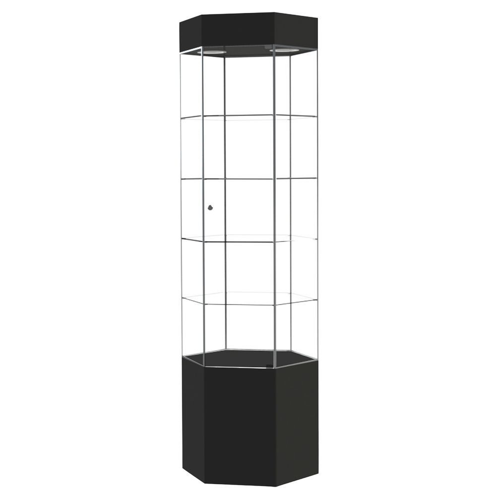 TOWER, NARROW HEX, BLACK, BR.ALUMINUM FRAME