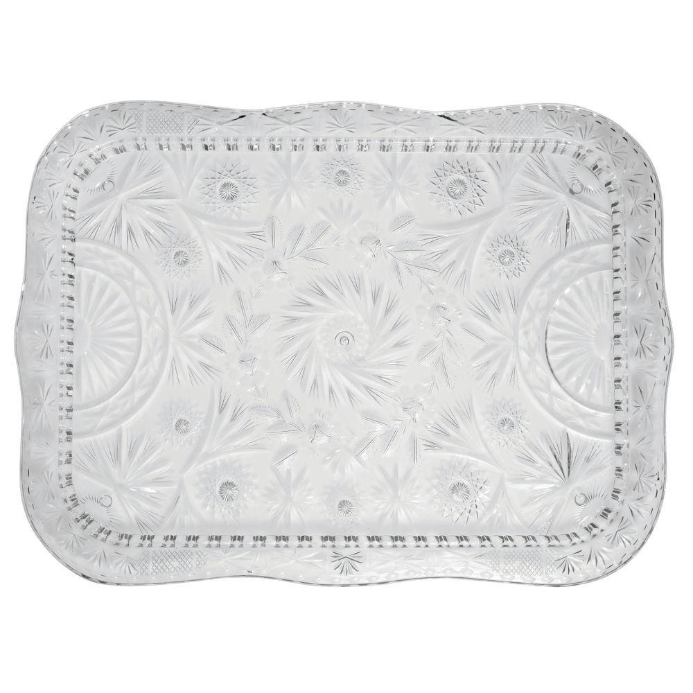 "|Heavyweight Faux Crystal Serving Tray Clear  Plastic 22 1/2""L x 16 1/2""W"