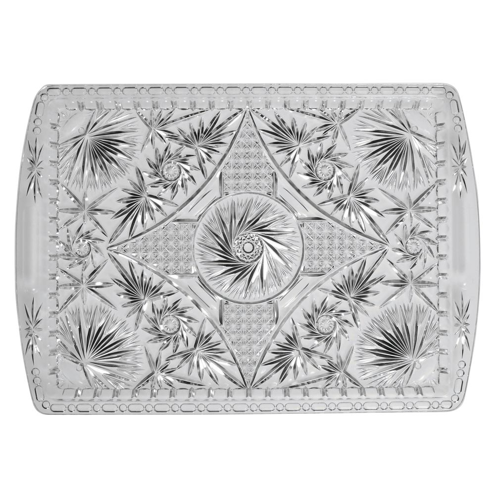 "|Heavyweight Faux Crystal Serving Tray Clear  Plastic 18""L x 12""W"