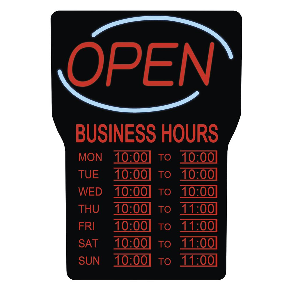 LED Open Sign with Hours