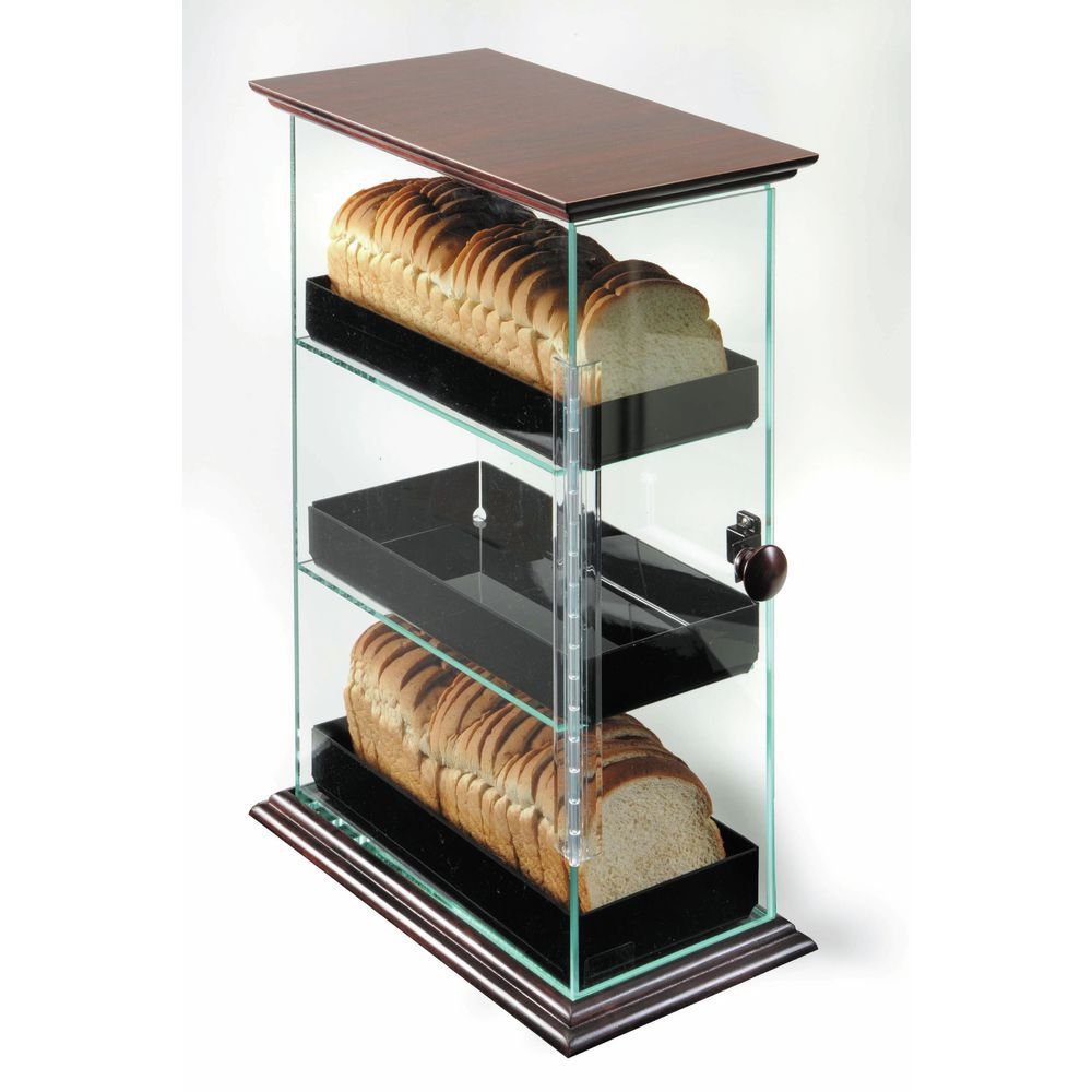 Cal-Mil Bread Display With Mahogany Frame and Black Trays |Three-Level Bread Display with Decorative Wood Accents