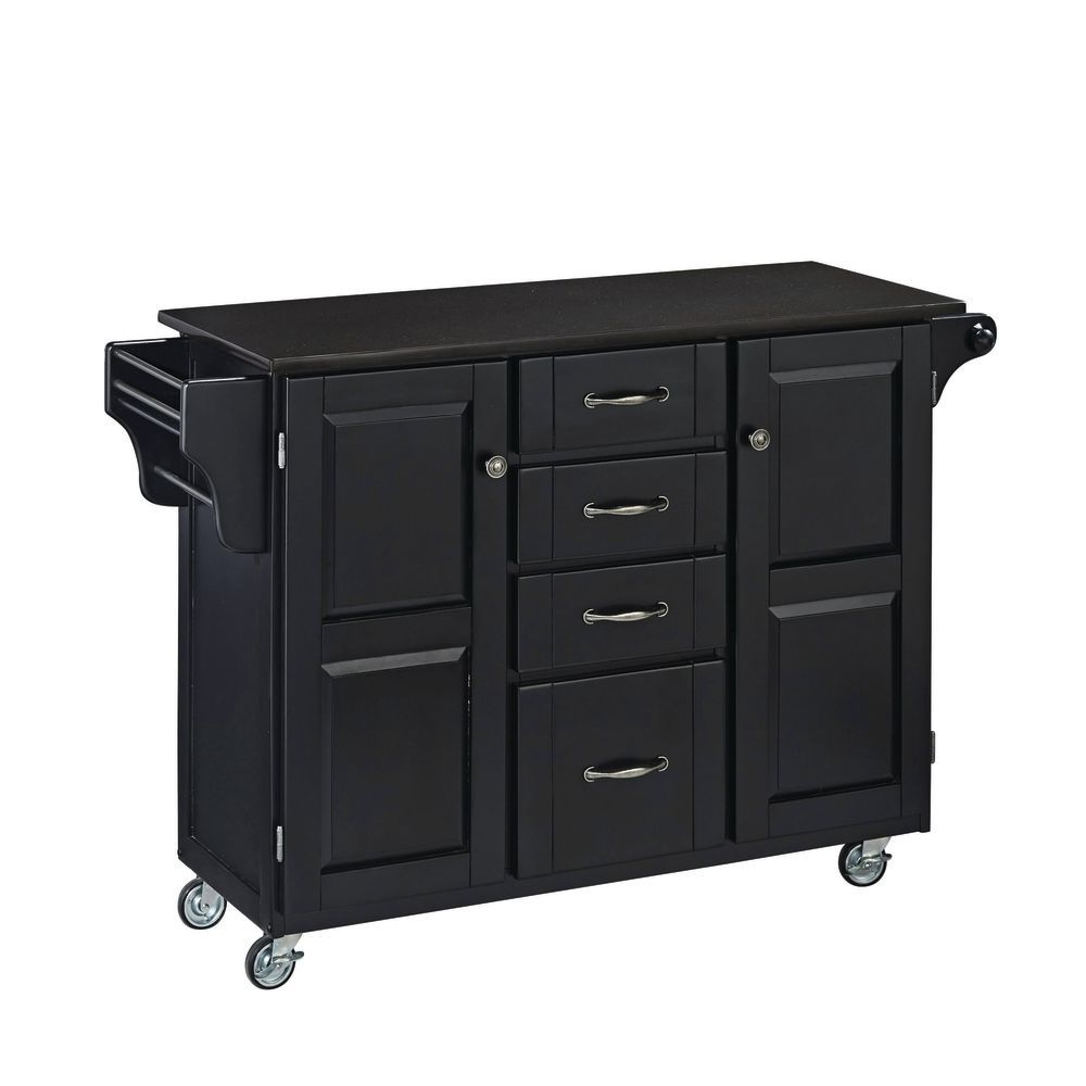 Large Black Portable Kitchen Island