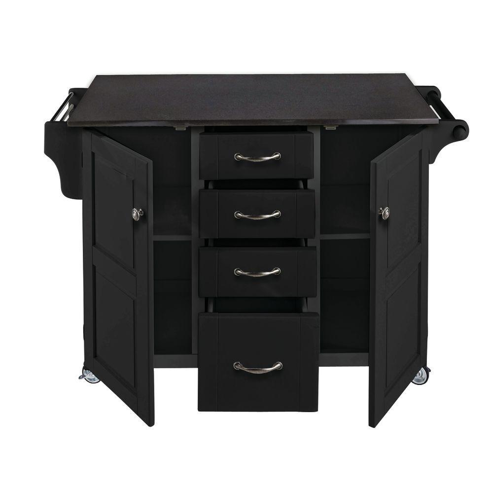 Large Black Portable Kitchen Island