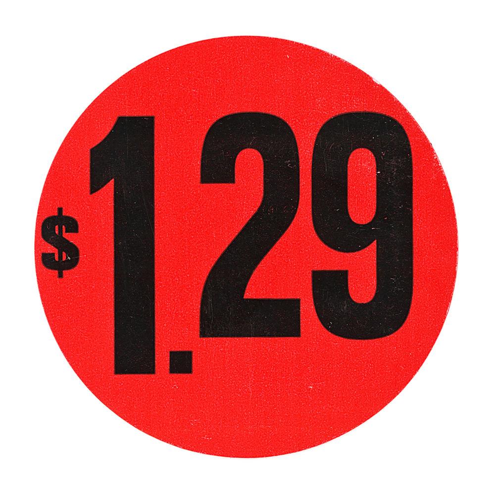 "LABEL, RED FLR, $1.29, 1 1/2"" DIA."