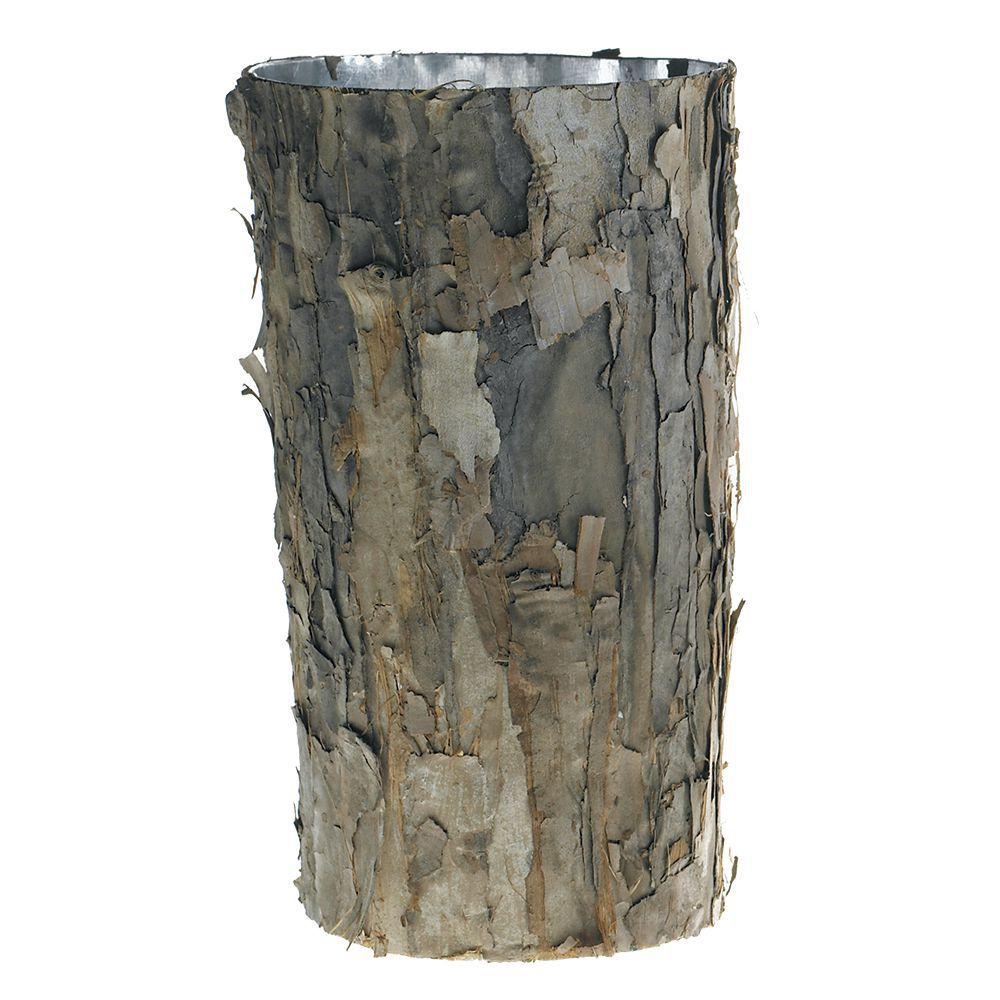 Large Natural Bark Covered Vase
