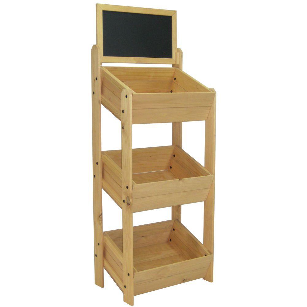 Wood Display Rack with Chalkboard