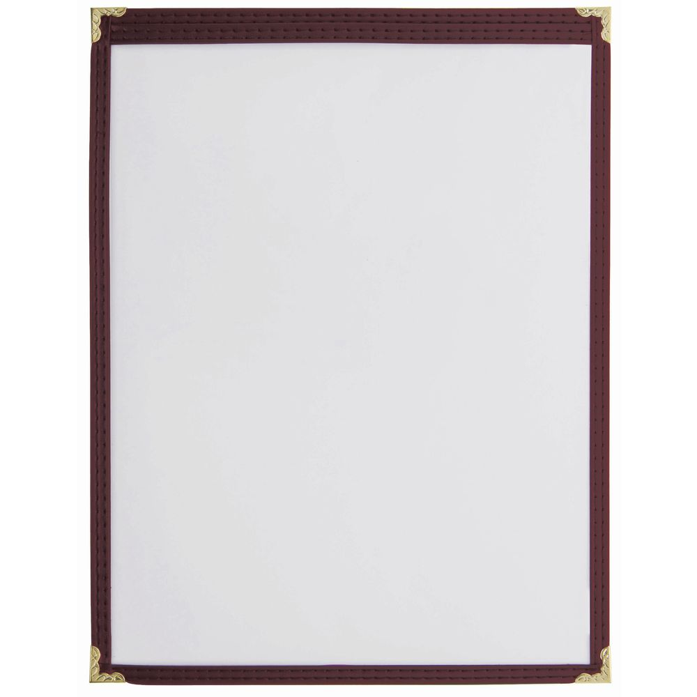 "Menu Cover Maroon Vinyl Single Pocket  8 1/2""L  x  11""H"