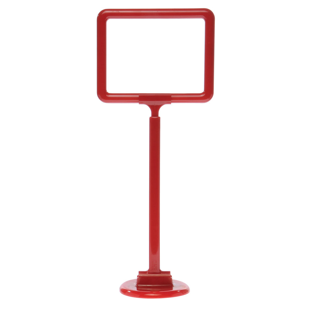 "7 x 5 1/2 Adjustable Sign Stand, Red, Stem 12""-22"", Round Base"