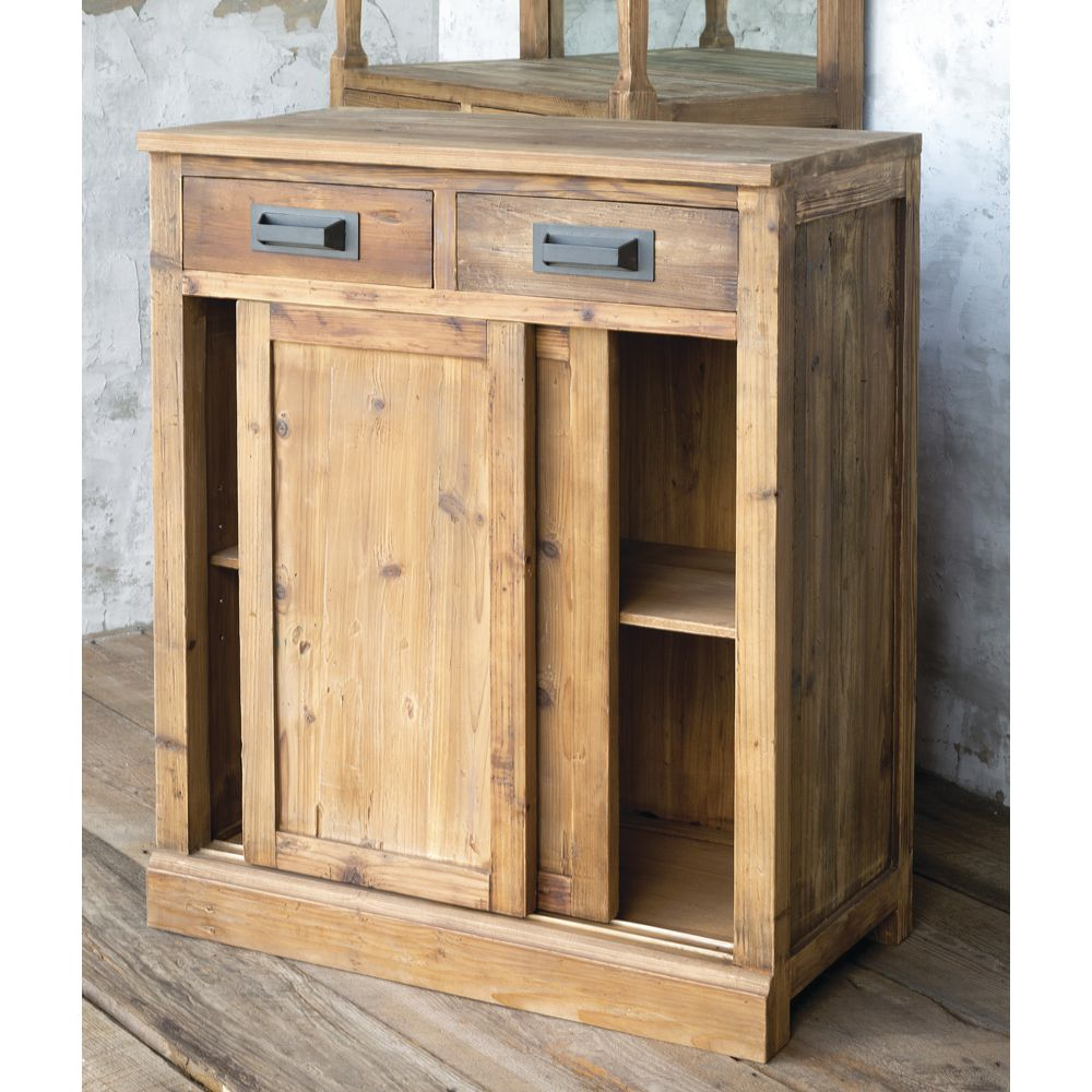 CABINET, RECLAIMED PINE, NATURAL, LOW
