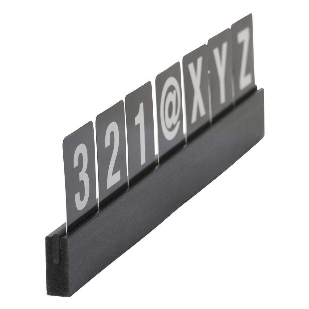 LETTER SHELF, LETTERS+NUMBERS, BLACK, SECUR