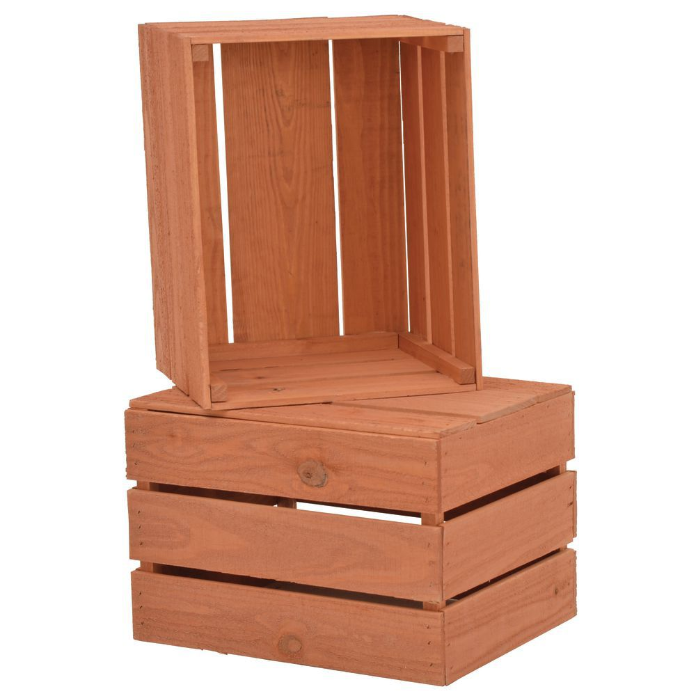 CRATE, STACKING, CHERRY SOLID PINE, 17.5X14