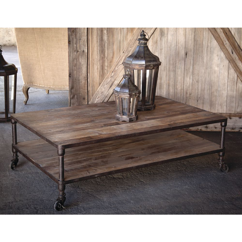 """TABLE, RECLAIMED WOOD, NATURAL BLACK, 17""""H"""