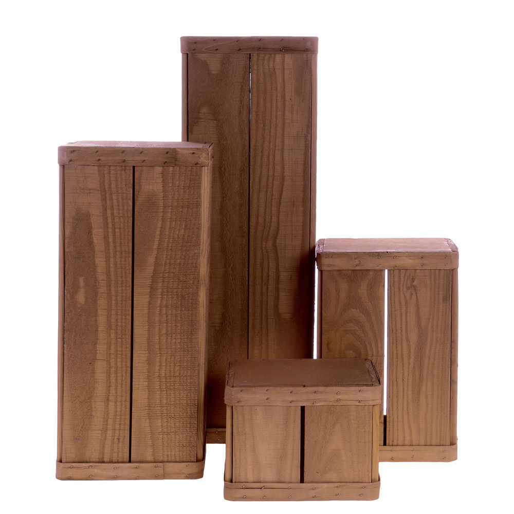 "PEDESTAL, WOOD, EARLY AMERICAN, 8""SQ, 4 PC/S"