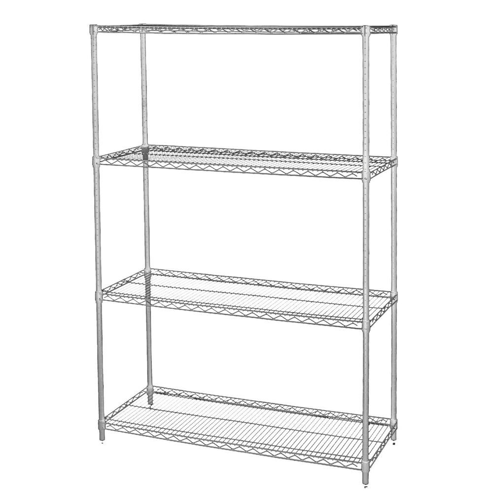 SHELF UNIT, CHROME 4 SHELF, 36X18X74H