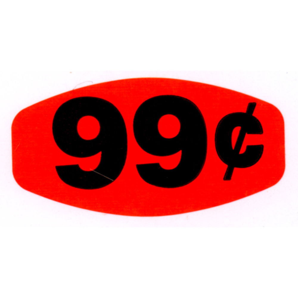 """99¢ Price Point Grabber Grocery Store Labels 1 3/8""""L x 7/8""""H Red With Black Print"""
