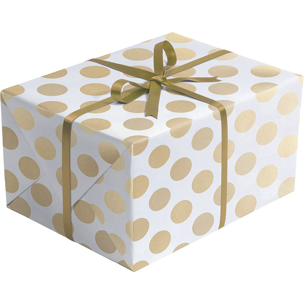 "GIFT WRAP, GOLD+SILVER DOT, HALF ROLL, 24""W"