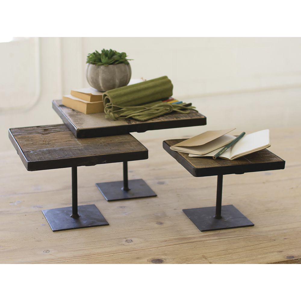 RISERS, RECYCLED WOOD, METAL BASES, SET 3