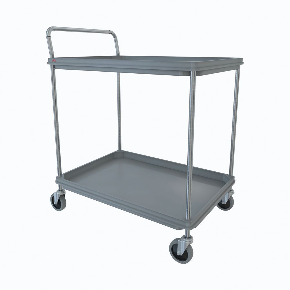 "Metro Deep Ledge 2 Shelf Industrial Cart 32 3/4"" x 21 1/2""W x 41""H Grey"