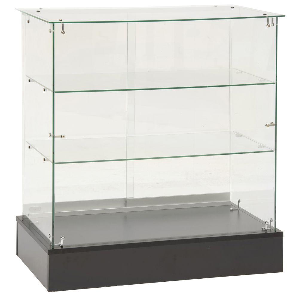 """Frameless Glass Showcase, 38""""H"""