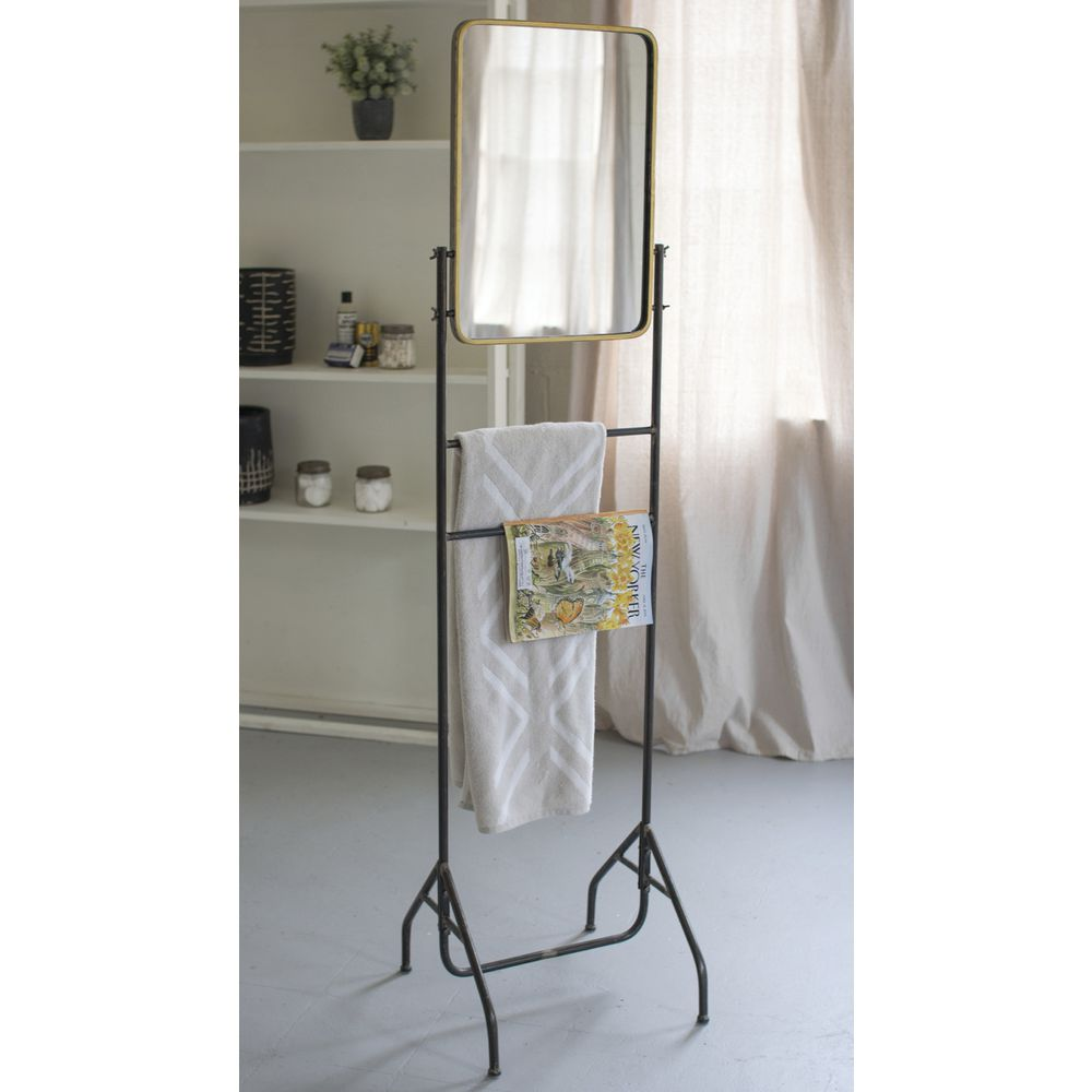 "MIRROR, FLOOR, W/HANGBARS, METAL, 65.25""H"