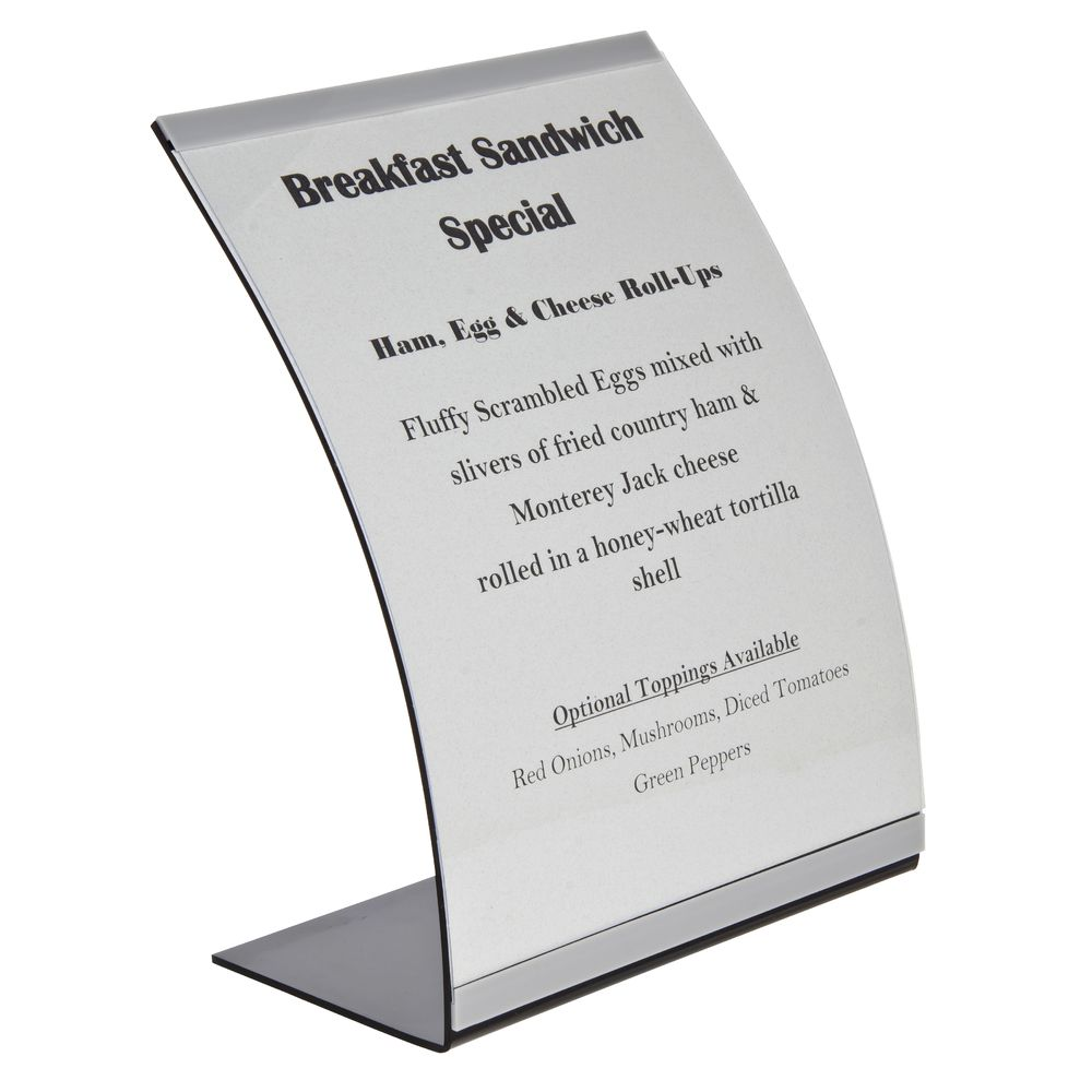 """Curved Acrylic 8.5 x 11 Sign Holder Black Base For 11""""H x 8 1/2""""W Inserts"""