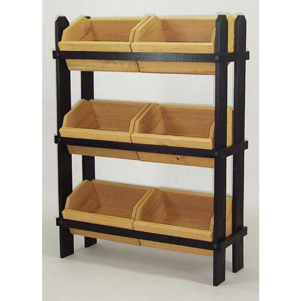 wood display racks with rustic oak stained wood