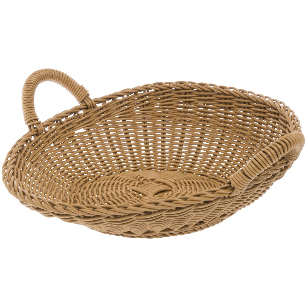 """Small Washable Wicker Sloped Round Basket 14 3/4""""Dia"""