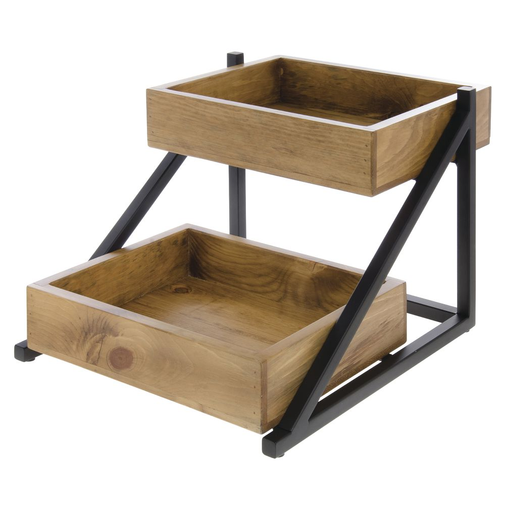"""Cal Mil 2-Tier Merchandiser Madera Collection 16 1/2""""L x 15 1/2""""W x 12""""H Wood/Metal"""
