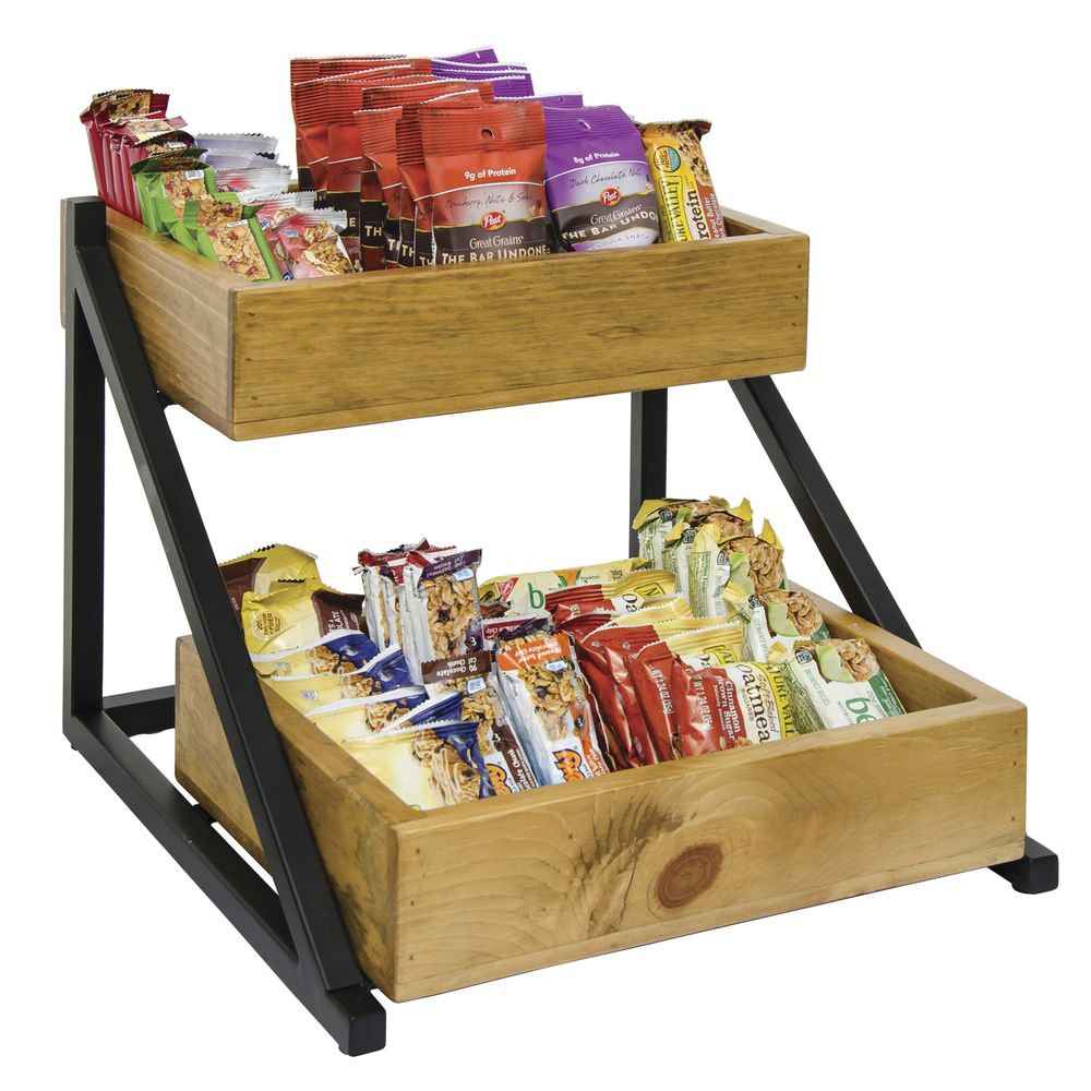 """Cal Mil 2-Tier Merchandiser Madera Collection 16 1/2""""L x 15 1/2""""W x 12""""H Wood/Metal 