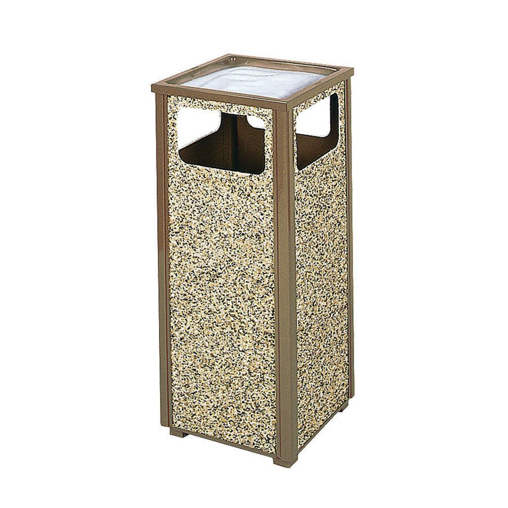 "Rubbermaid Desert Stone Ash/Trash Receptacle 12 Gal 13 1/2"" L x 13 1/2"" W x 32"" H Brown"