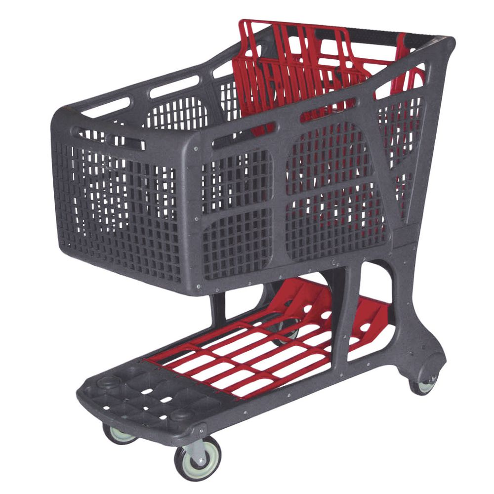 CART, SHOP.PLASTIC, GRAY/RED, 11, 575 CU.IN.