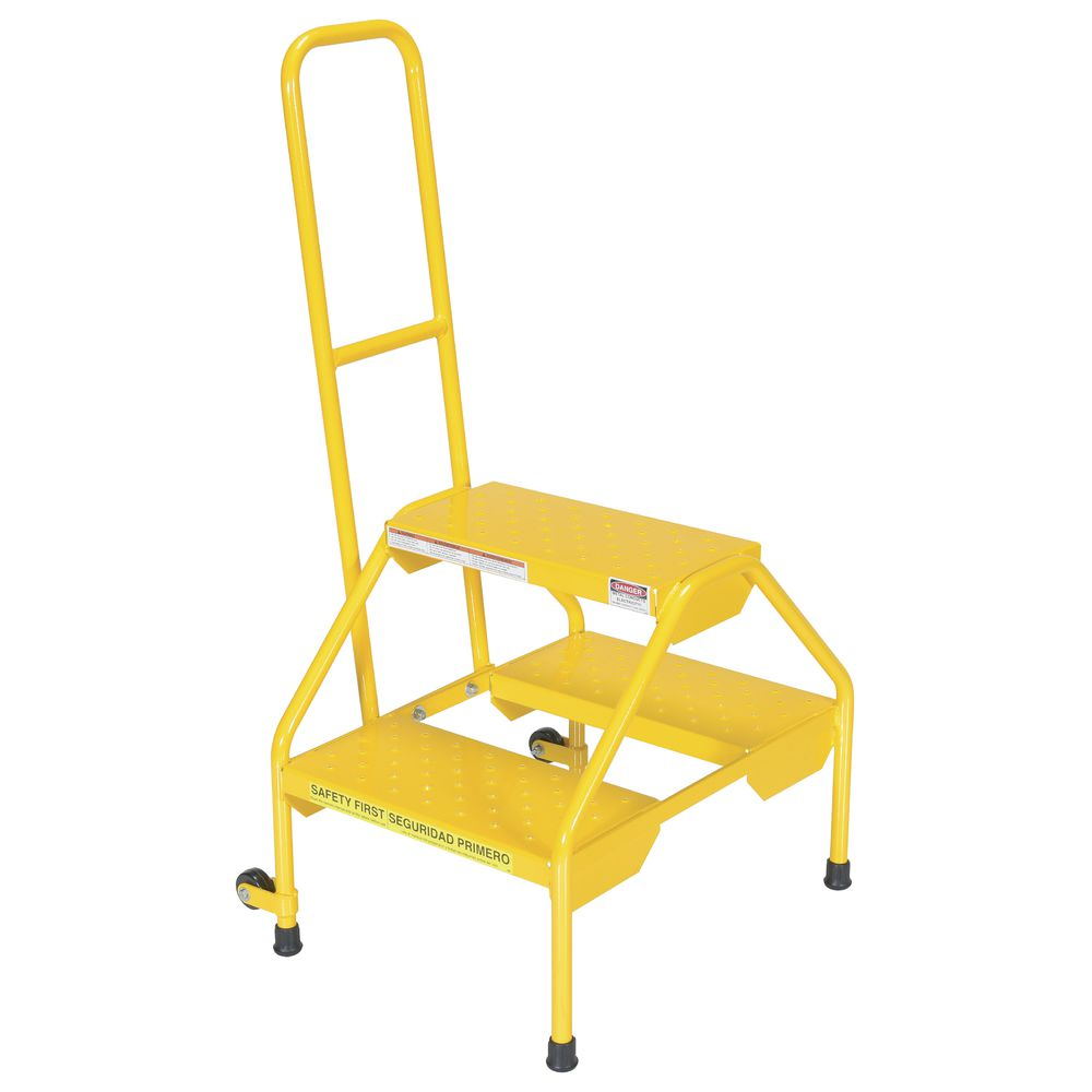 STEP STAND, W/HANDRAIL, PERF STEPS, YELLOW