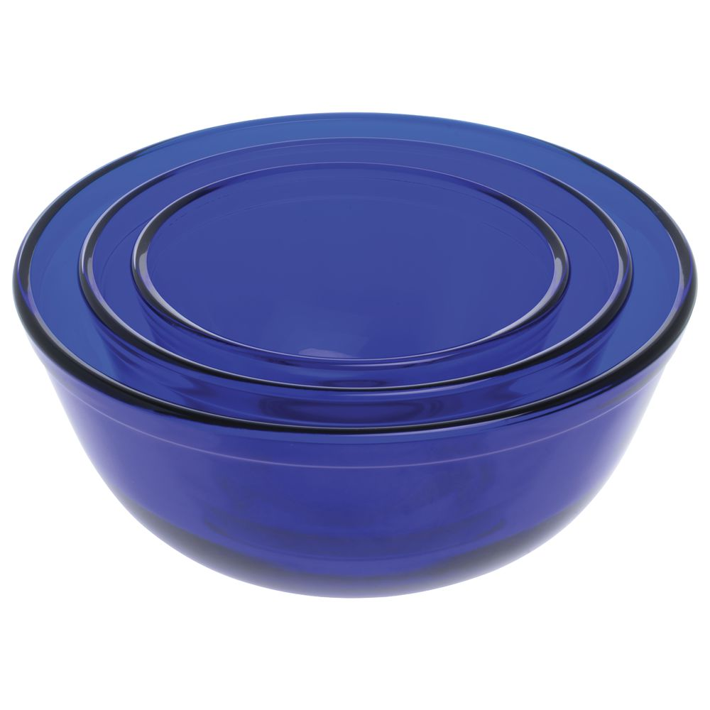 BOWL, MIXING, GLASS, COBALT BLUE, 3/SET