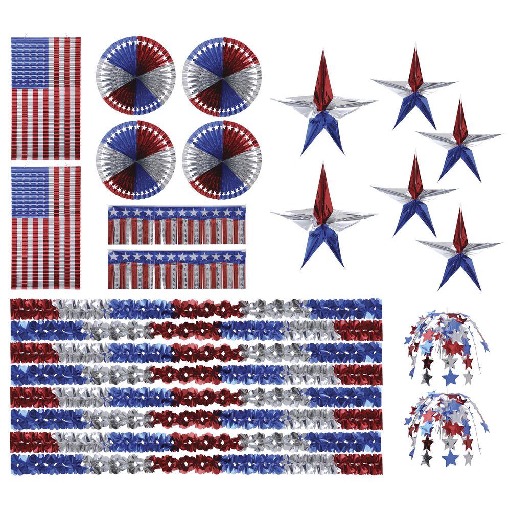 Patriotic Décor Red/Silver/Blue 4000 Sq Ft Foil