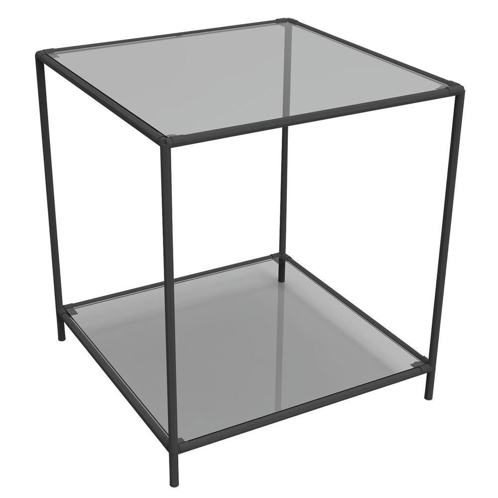 DISPLAY TOWER, 2FIXED SHELVES, BLACK