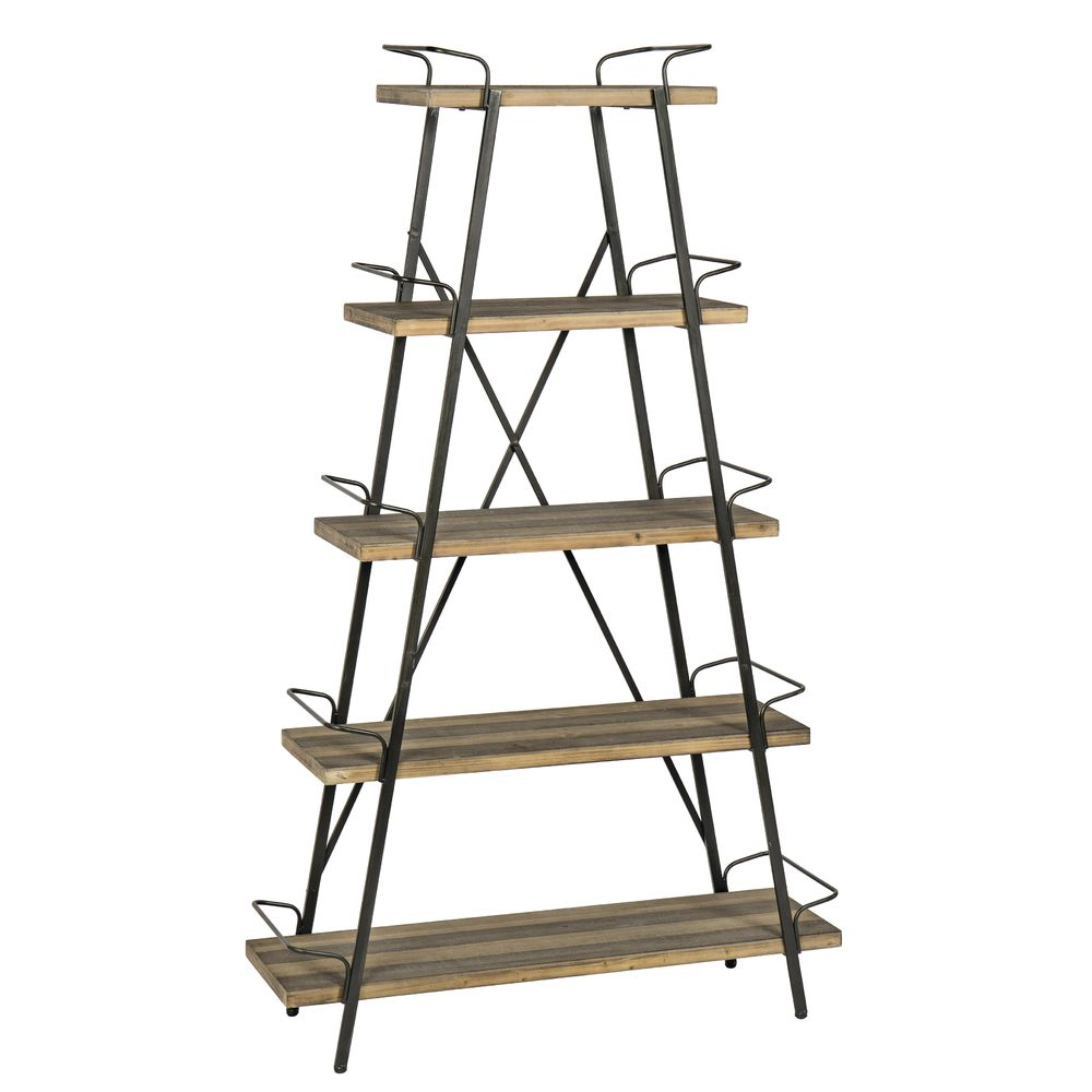 SHELF, WOOD/METAL, TAPERED, 5TIER