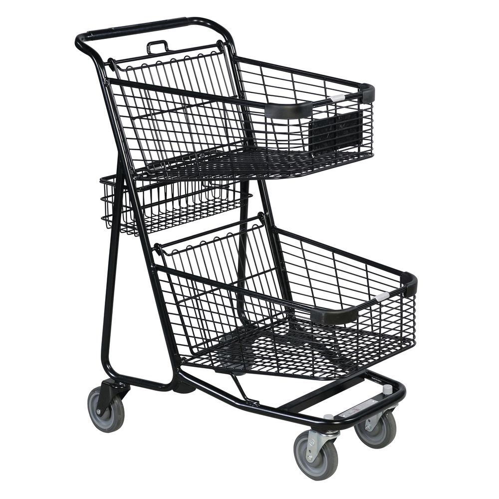 EXPRESS CART.DOUBLE BSKT/REAR BSKT, BLACK