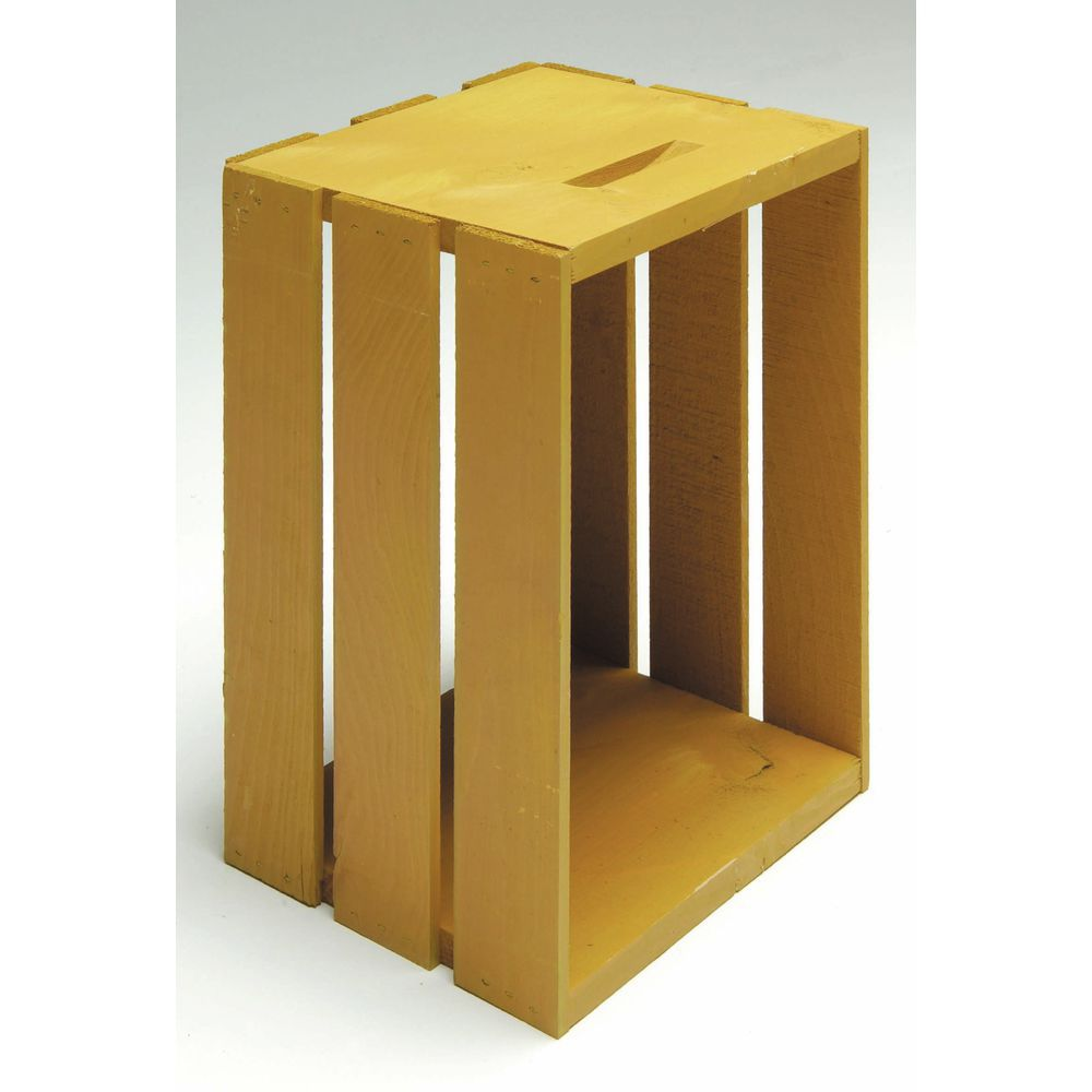 CRATE, WOOD, SMALL, GOLDEN YELLOW