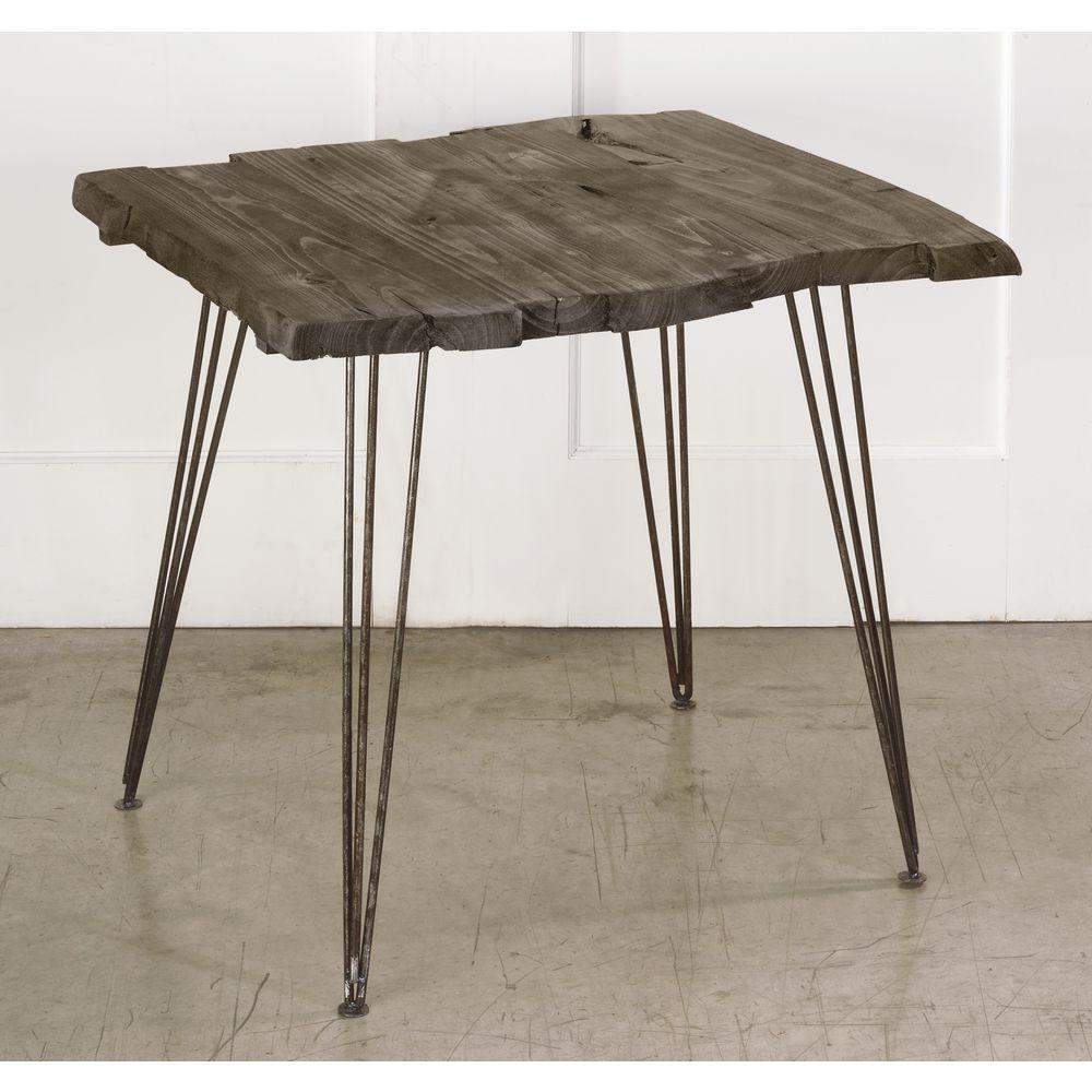 TABLE, RUSTIC, WOOD TOP, METAL LEGS, SQUARE
