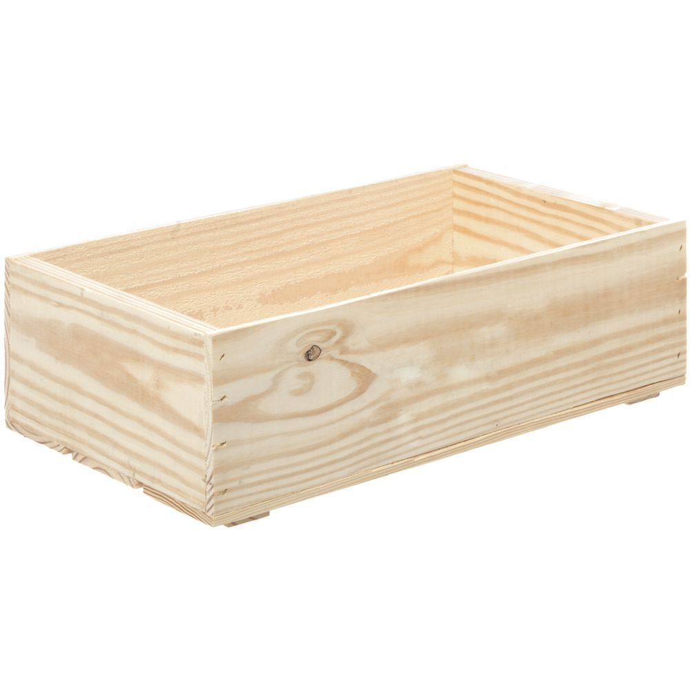 "Wooden Crate Plain Oak Large 19 3/4""L x 11 1/4""W x 5 7/8""H"