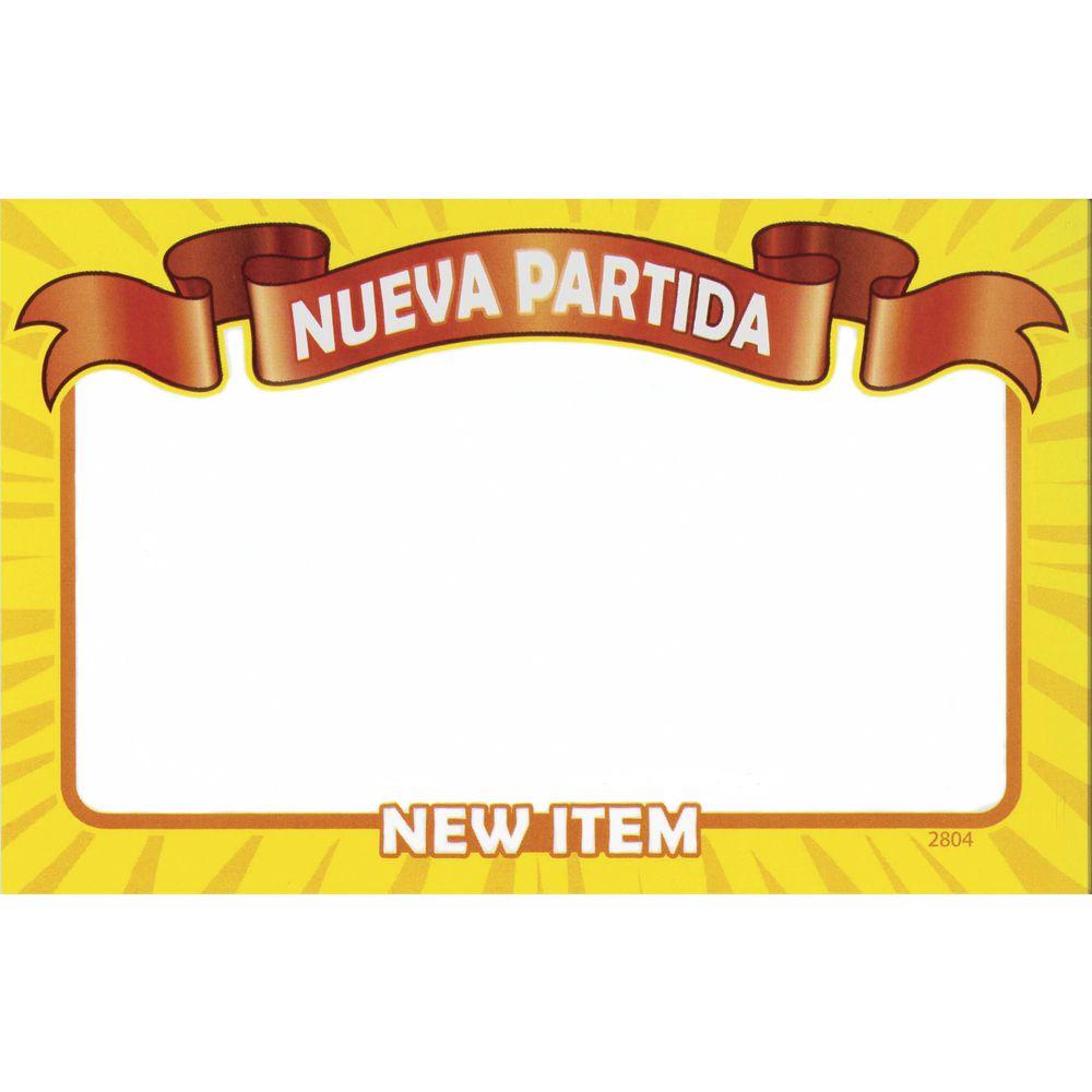 CARD, WRITE-ON, RIBBN, NUEVA PARTIDA, 3.5X5.