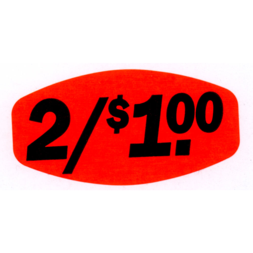 """2/$1.00 Price Point Grabber Grocery Store Labels 1 3/8""""L x 7/8""""H Red With Black Print"""