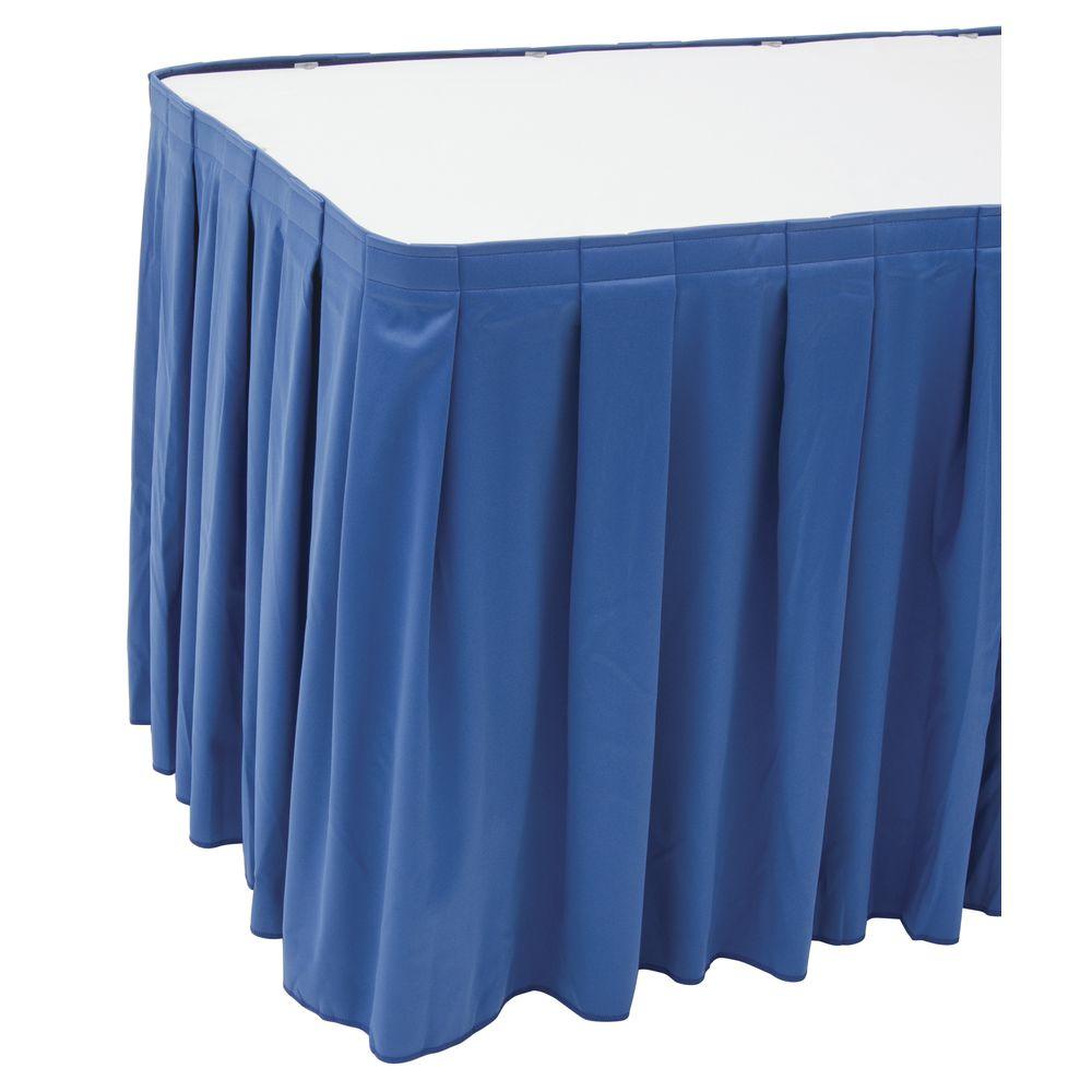 """Snap Drape Flame-Retardant Box Pleat Table Skirting Royal Blue 13""""L x 29""""H"""